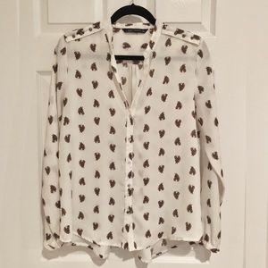 Zara Mao Collar Horse Print Chemise Blouse - EUC!
